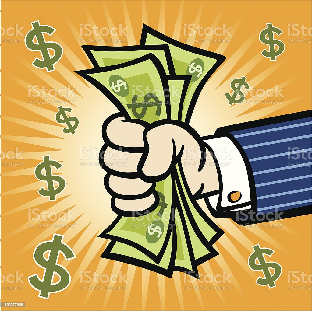 Hand WIth Cash royalty-free stock vector art