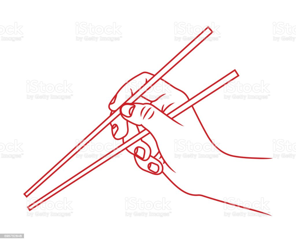 Hand with chopsticks vector art illustration