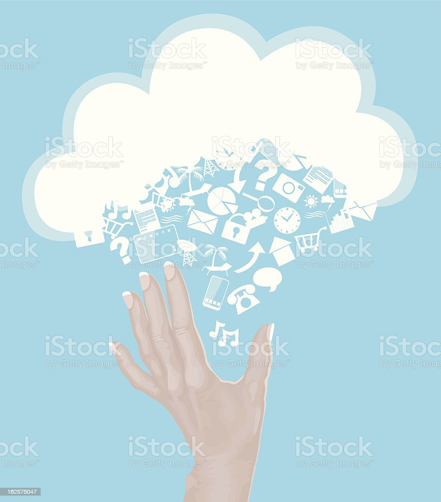 Hand with Cloud Made of Icons EPS10 royalty-free stock vector art