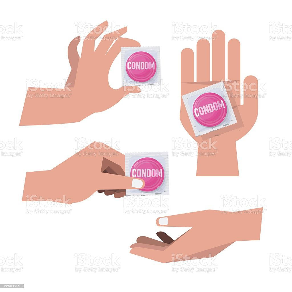 hand with condoms - vector illustration vector art illustration