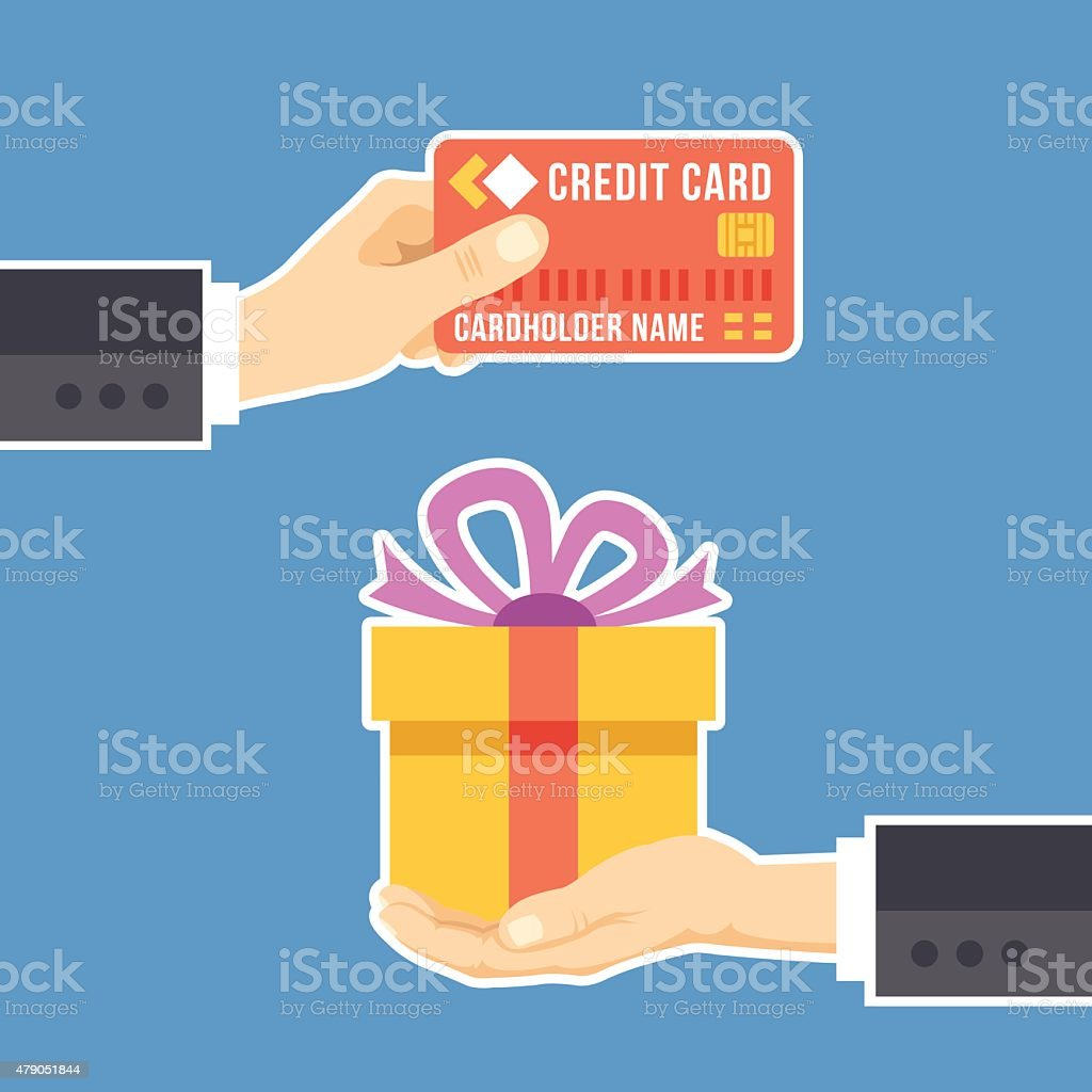 Hand with credit card and hand with gift vector art illustration