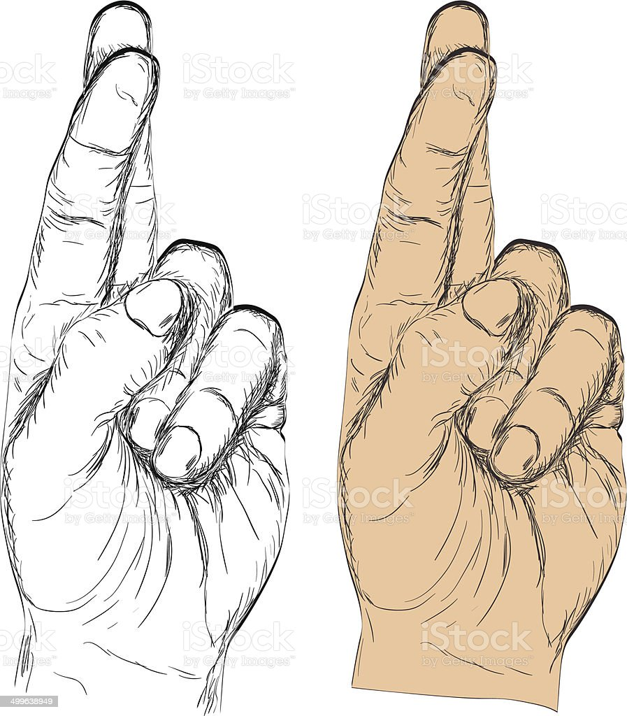 Hand with crossed fingers vector art illustration
