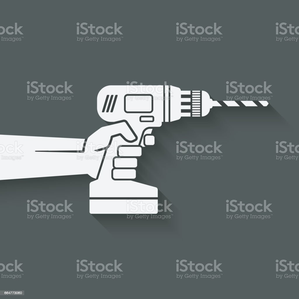 hand with drill. repair concept vector art illustration
