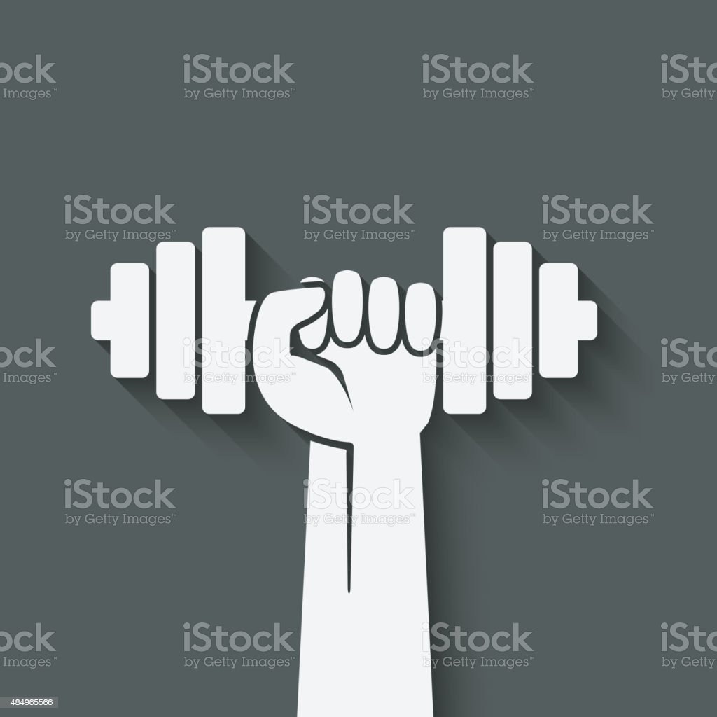 hand with dumbbell. fitness symbol vector art illustration