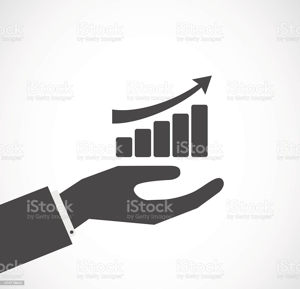 hand with finance diagram icon vector art illustration