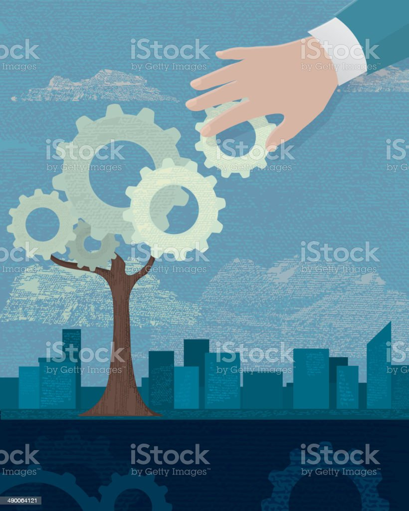 Hand with gear and gear tree on business background vector art illustration