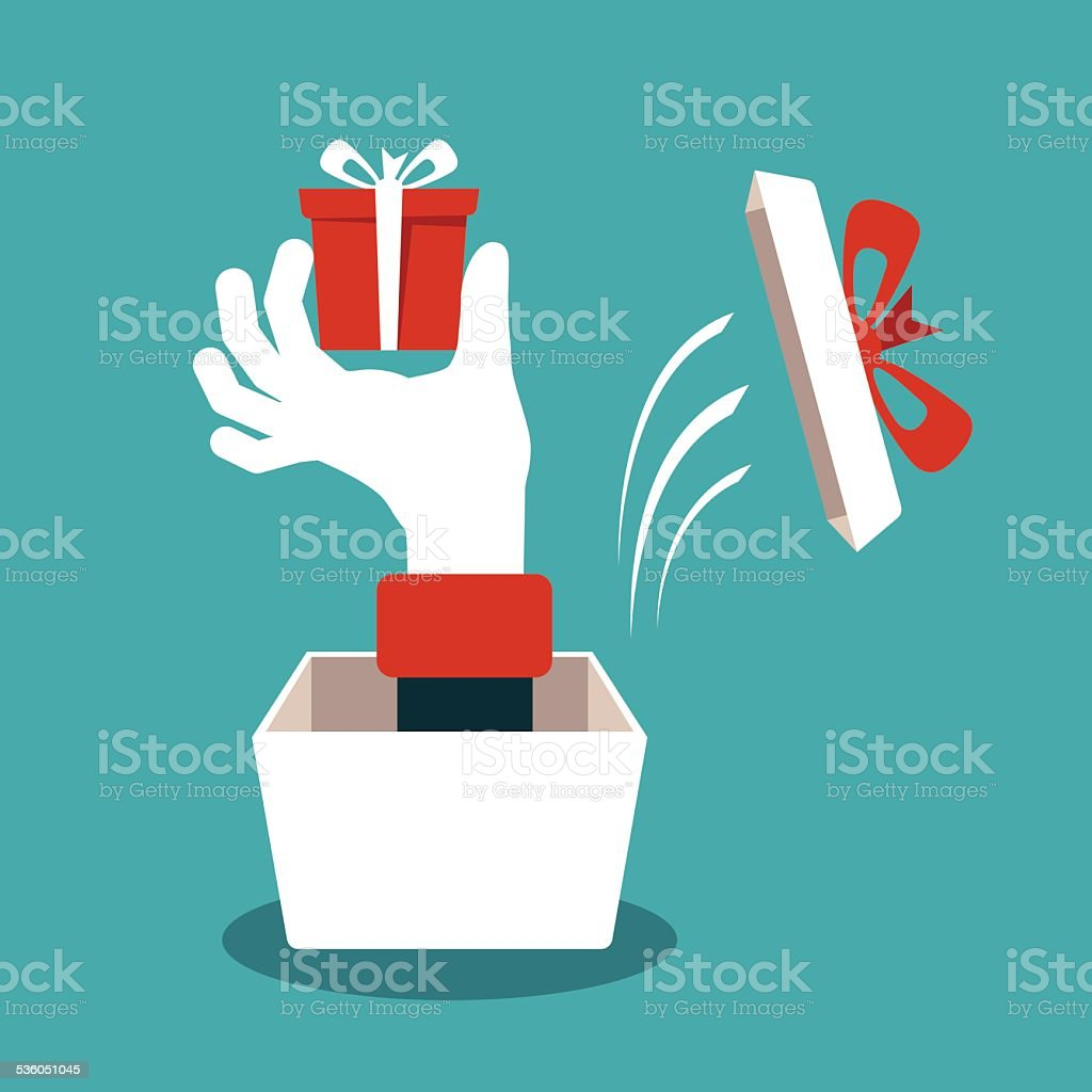 Hand with gift box vector concept in flat style vector art illustration