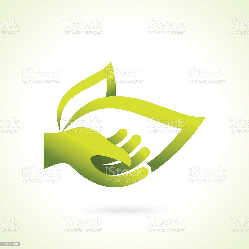 Hand with green leaf over white background vector art illustration