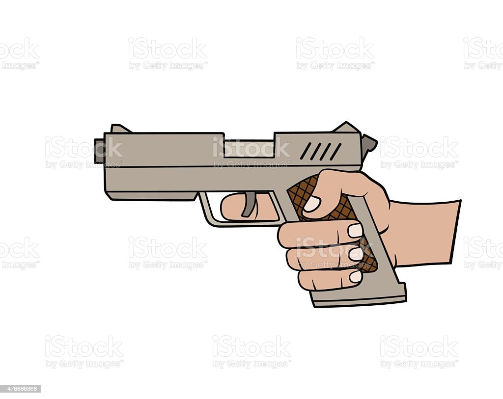 Hand with gun vector art illustration