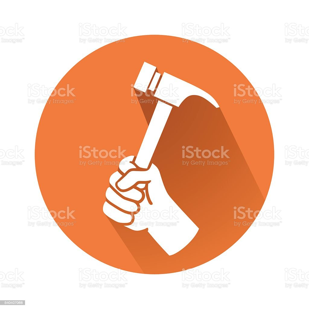 hand with hammer vector art illustration