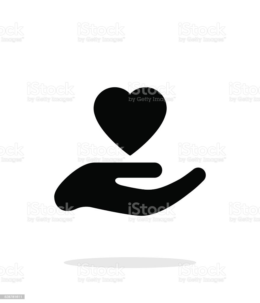 Hand with heart icon on white background. vector art illustration