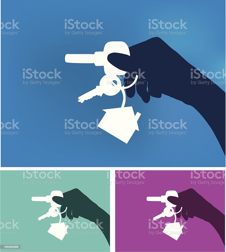 Hand with Home Keys vector art illustration