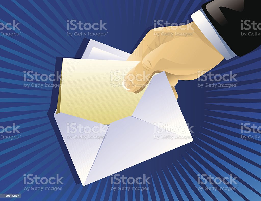 Hand with invitation royalty-free stock vector art