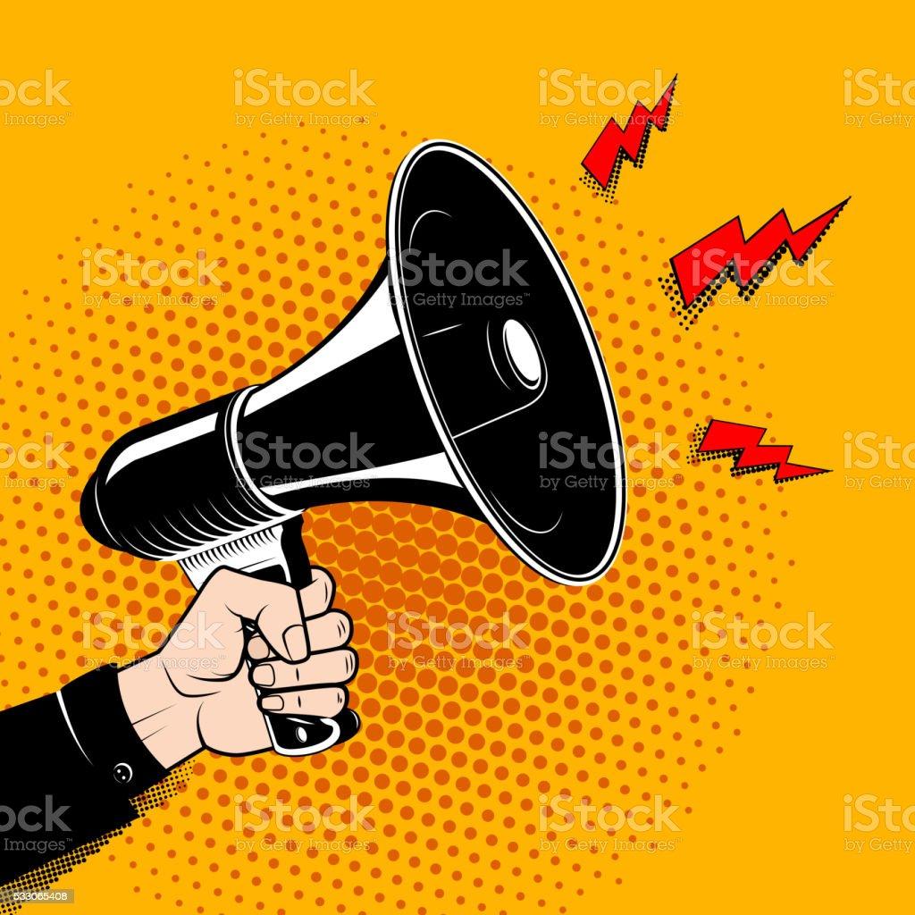 Hand with megaphone in pop art style. Comic style bullhorn. vector art illustration
