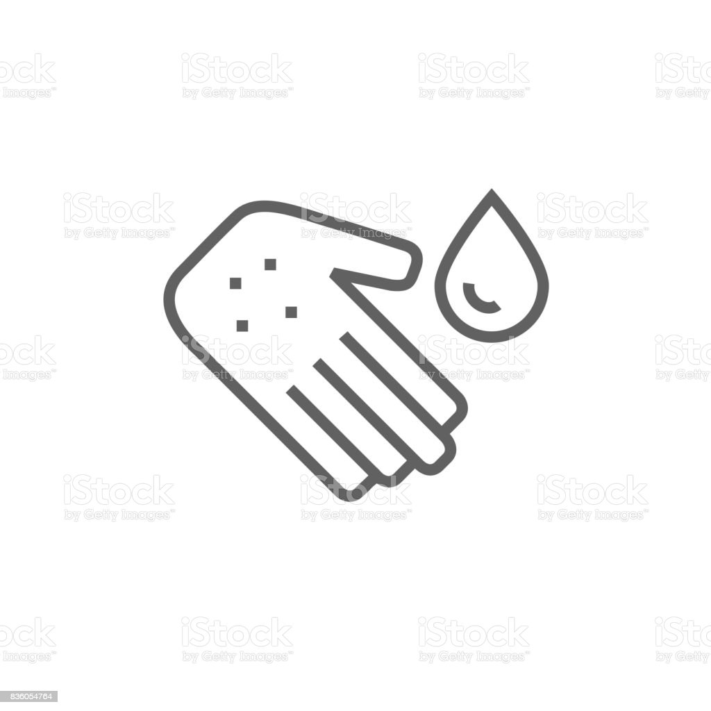 Hand with microbes line icon vector art illustration