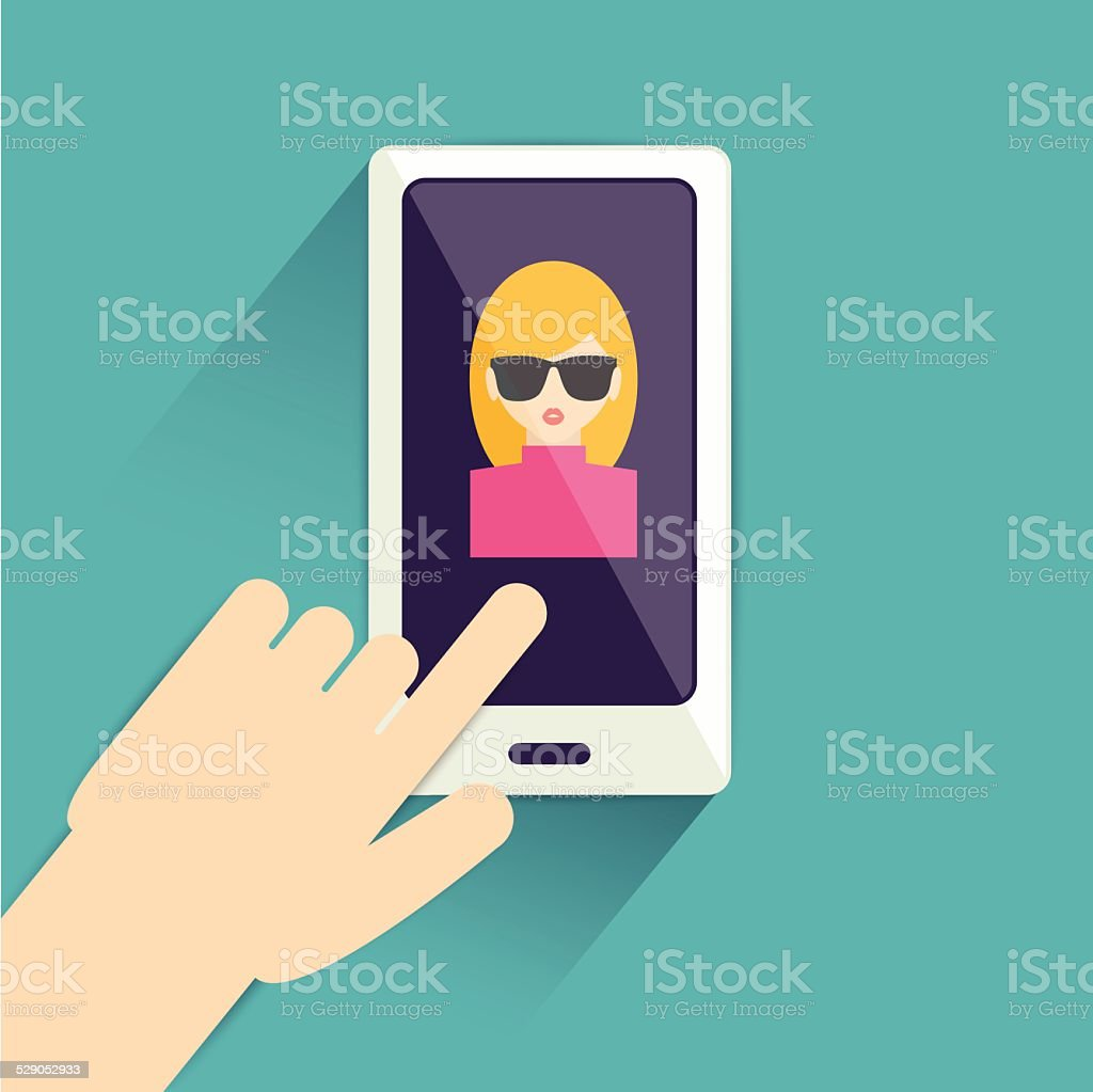 Hand with mobile. Flat graphic design . vector art illustration