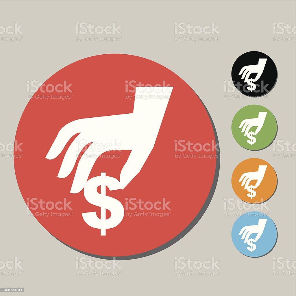 Hand with money icon vector art illustration