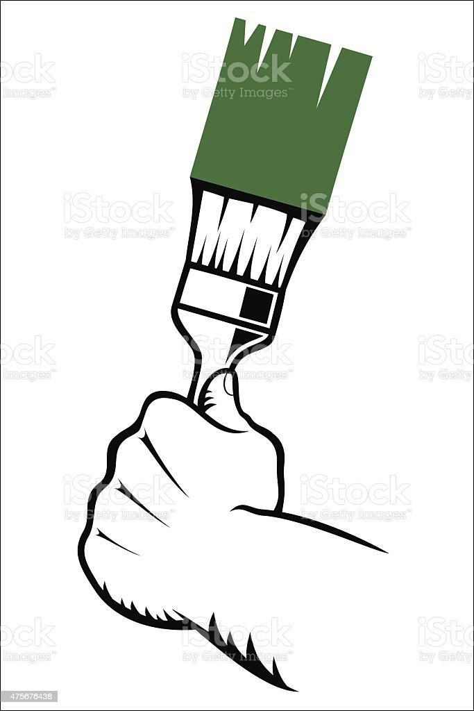 Hand with paint brush royalty-free stock vector art