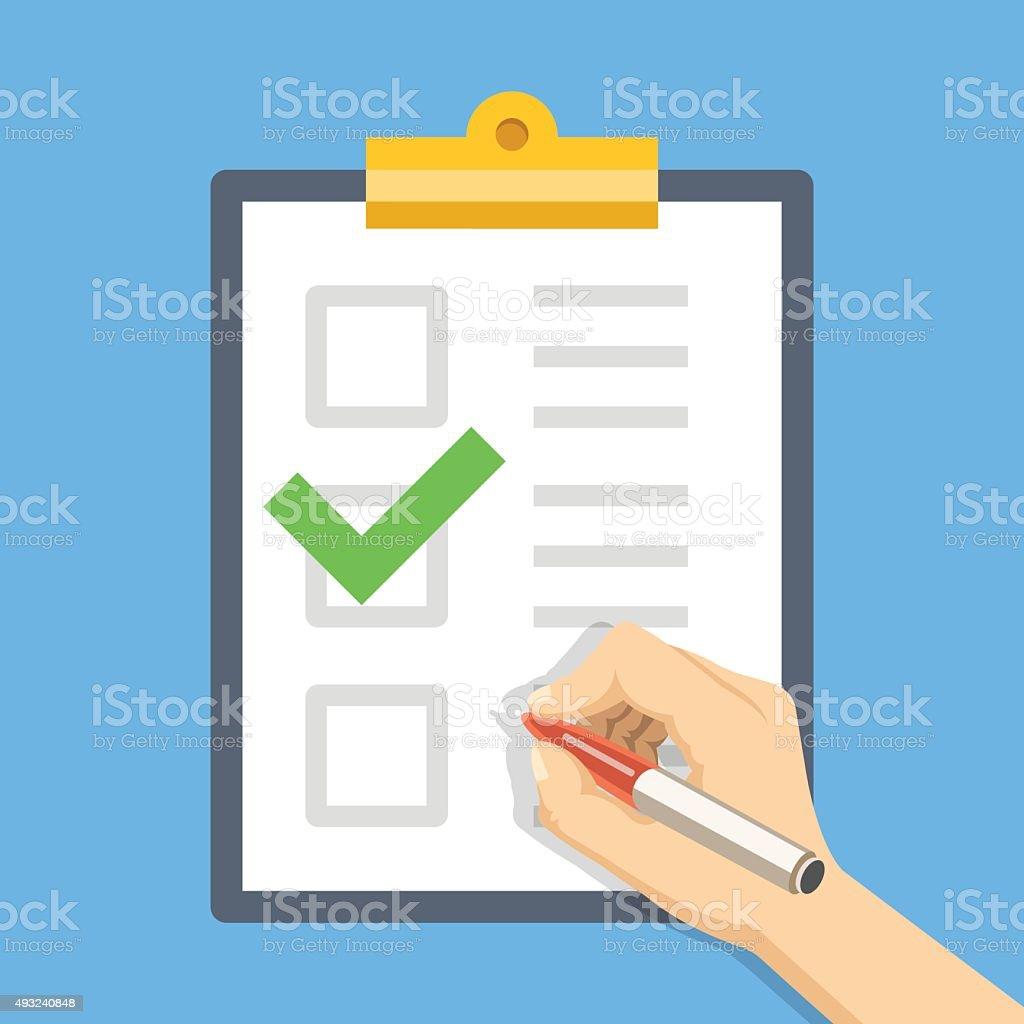 Hand with pen, clipboard with checklist. Fill form. Flat illustration vector art illustration