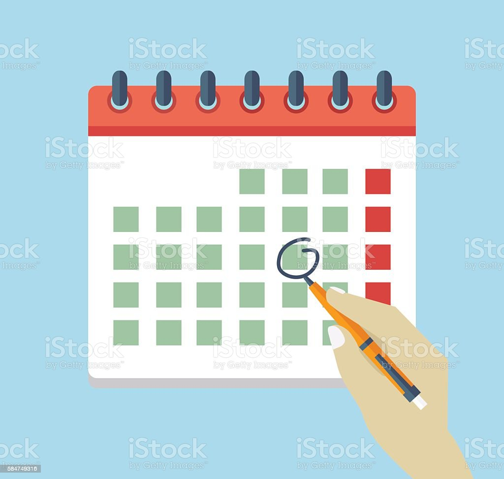 Hand with pen mark calendar. Flat icon. vector art illustration