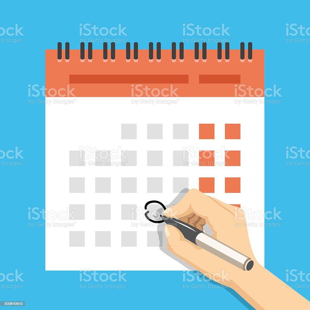 Hand with pen mark calendar. Important event concept vector art illustration