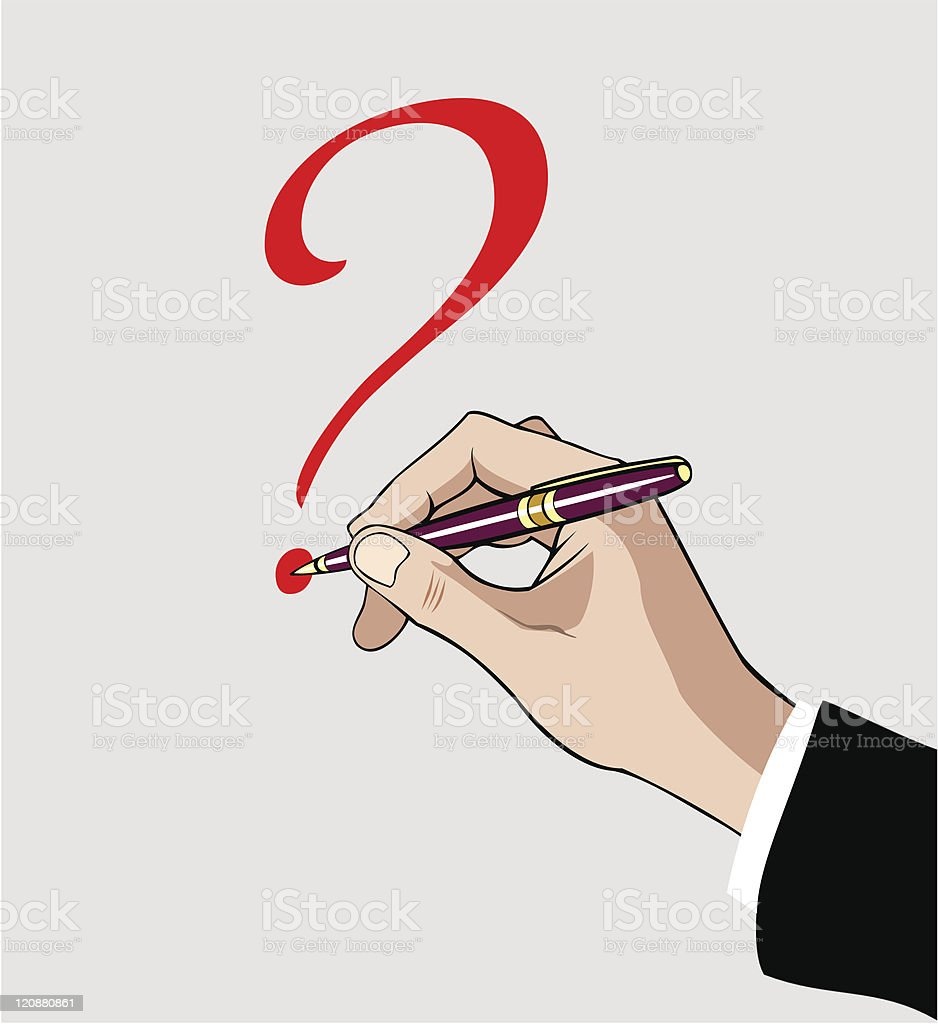 Hand with pen writing question mark vector art illustration