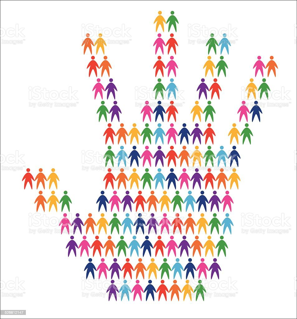 hand with people background vector art illustration