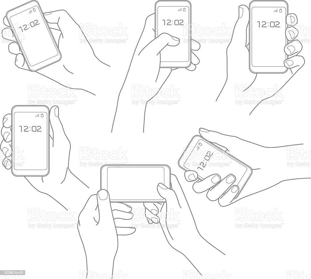 Mão com telefone vetor definido vetor e ilustração royalty-free royalty-free