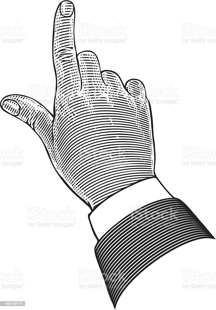 Hand with pointing finger in engraving style royalty-free stock vector art