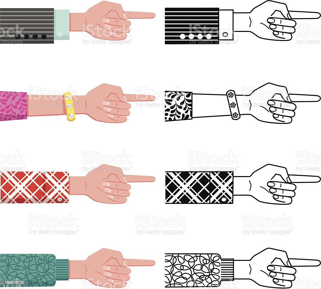 Hand with pointing Finger. vector art illustration