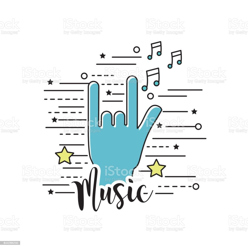 hand with rock symbol and musical signals vector art illustration