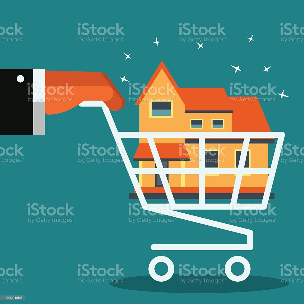 Hand with shopping cart. Real estate broker agent with house vector art illustration