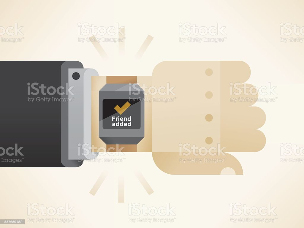 Hand with smart watch showing friend added social networking checkmark vector art illustration