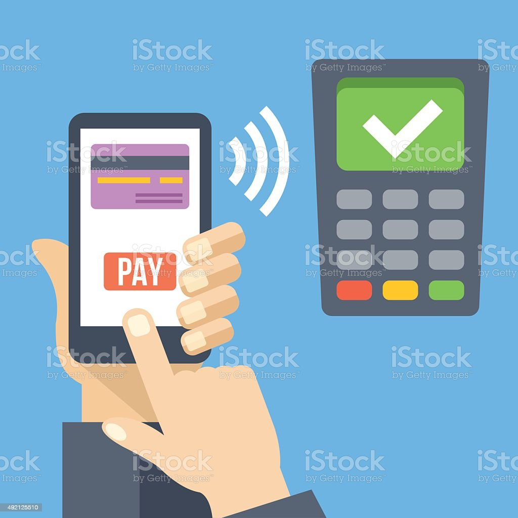 Hand with smartphone using mobile banking and mobile payment service vector art illustration
