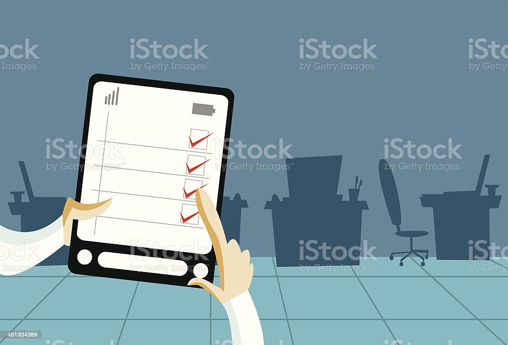 Hand with tablet computer royalty-free stock vector art
