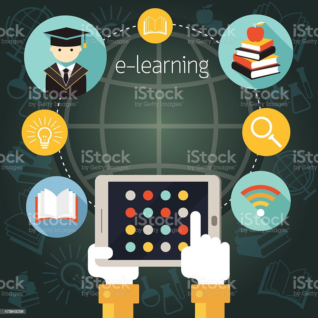 Hand with Tablet with E-Learning Icons Frame vector art illustration