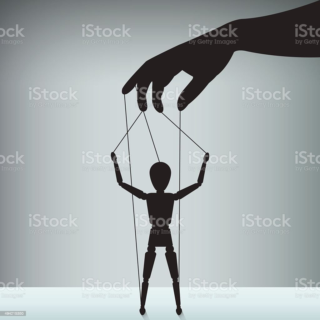 hand with the figure of an executive as a puppet vector art illustration