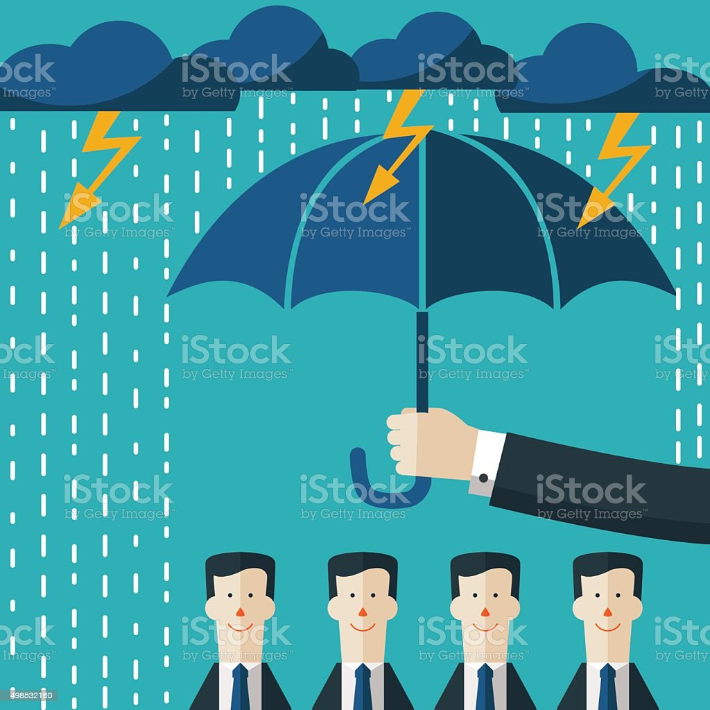 Hand with umbrella protecting businessmen. Boss protecting employees for problems vector art illustration