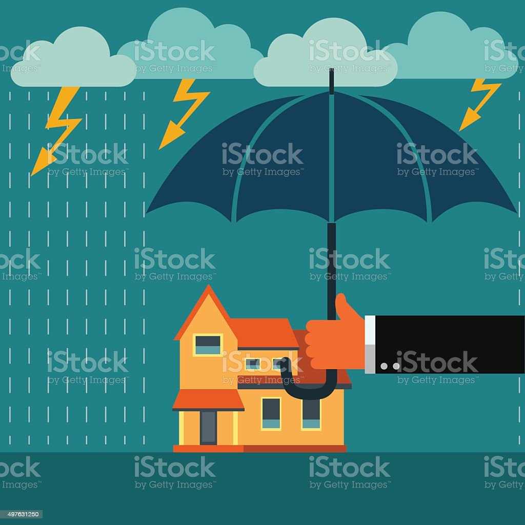 Hand with umbrella protecting house. Insurance, crisis, financial problems concept vector art illustration
