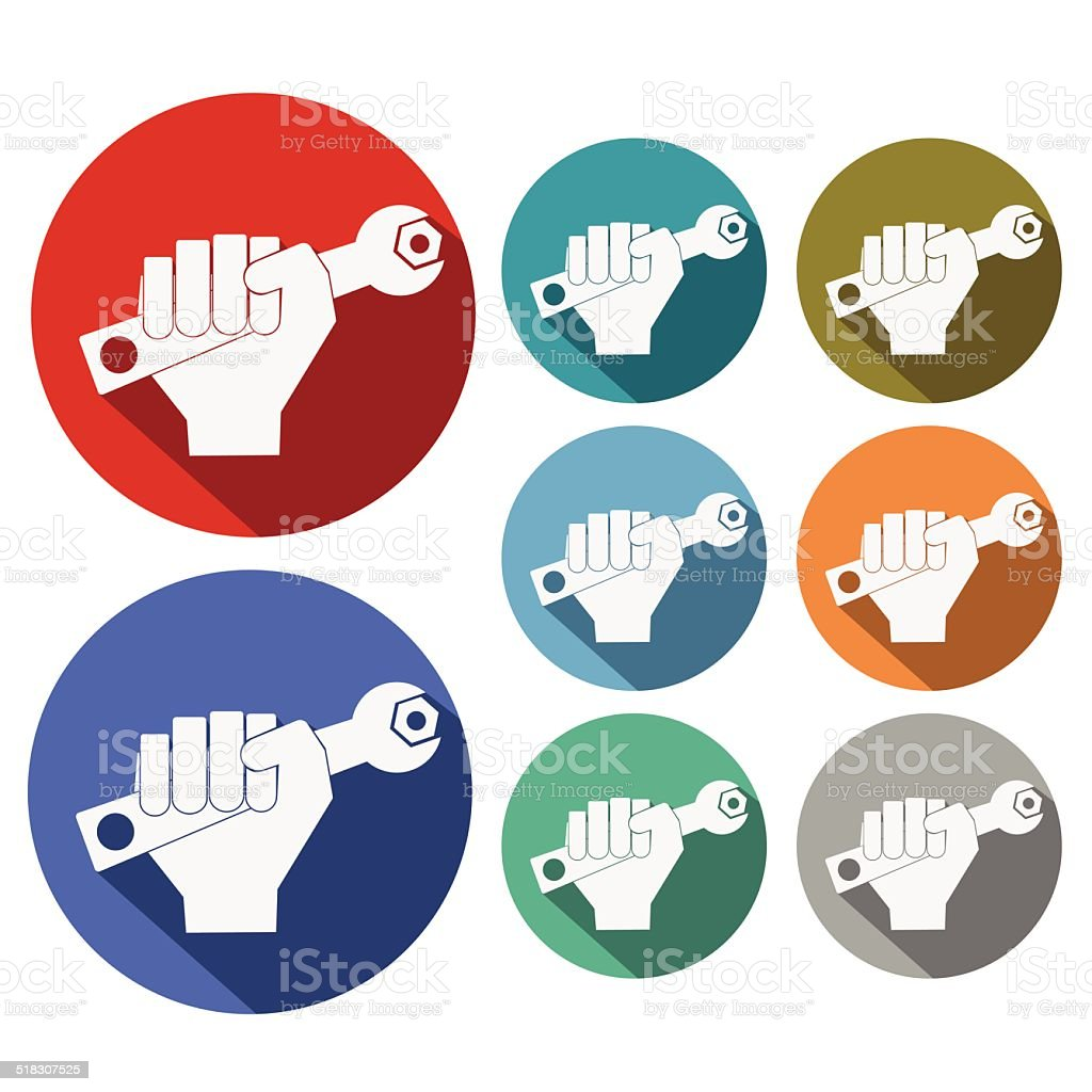 Hand with Wrench Icon vector art illustration