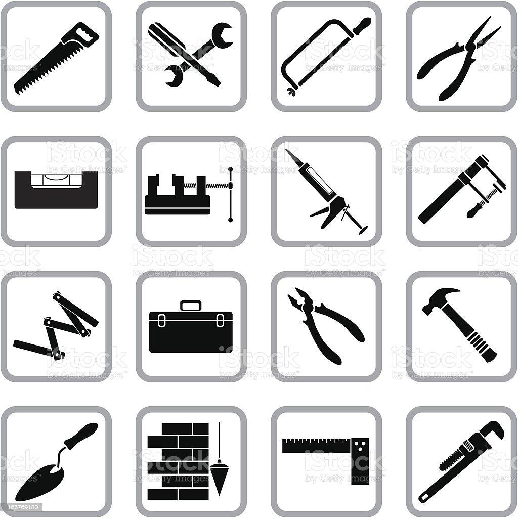 Hand work tools icons vector art illustration