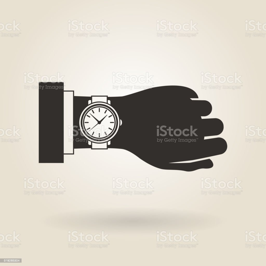 Hand Wristwatch vector art illustration