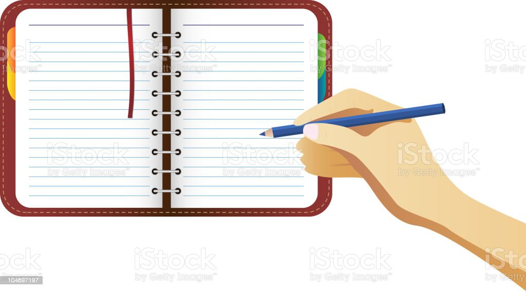 Hand writing on organizer page royalty-free stock vector art
