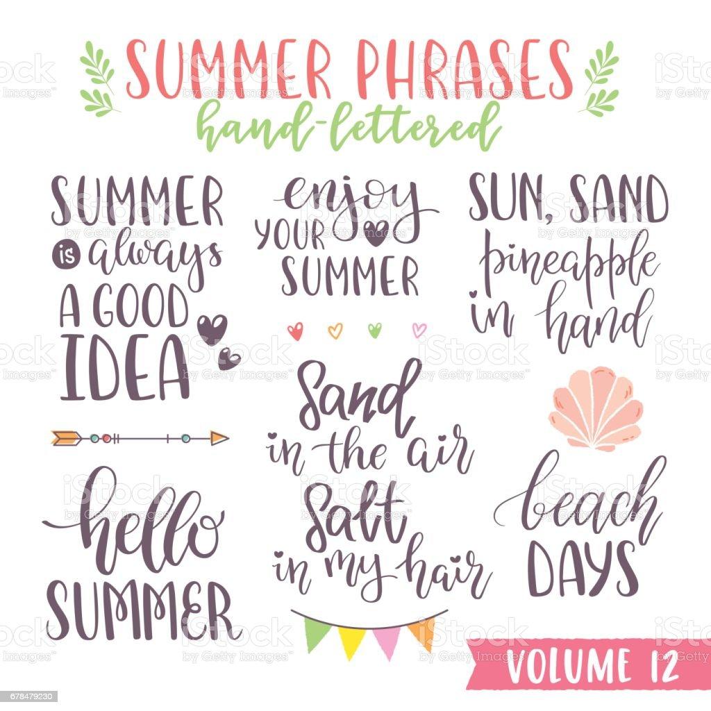 Hand written summer lettering phrases vector art illustration