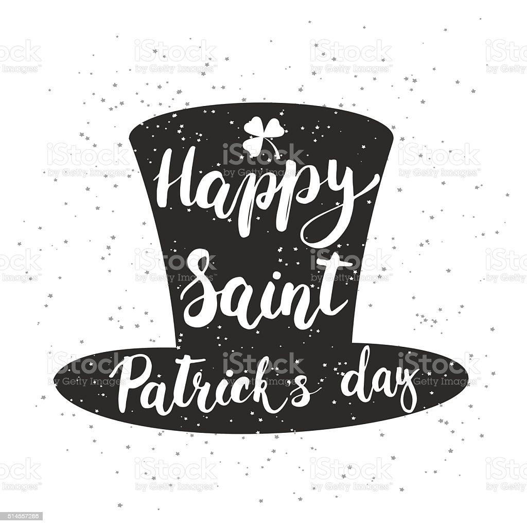 Hand written typography lettering phrase Happy Saint Patrick's Day vector art illustration