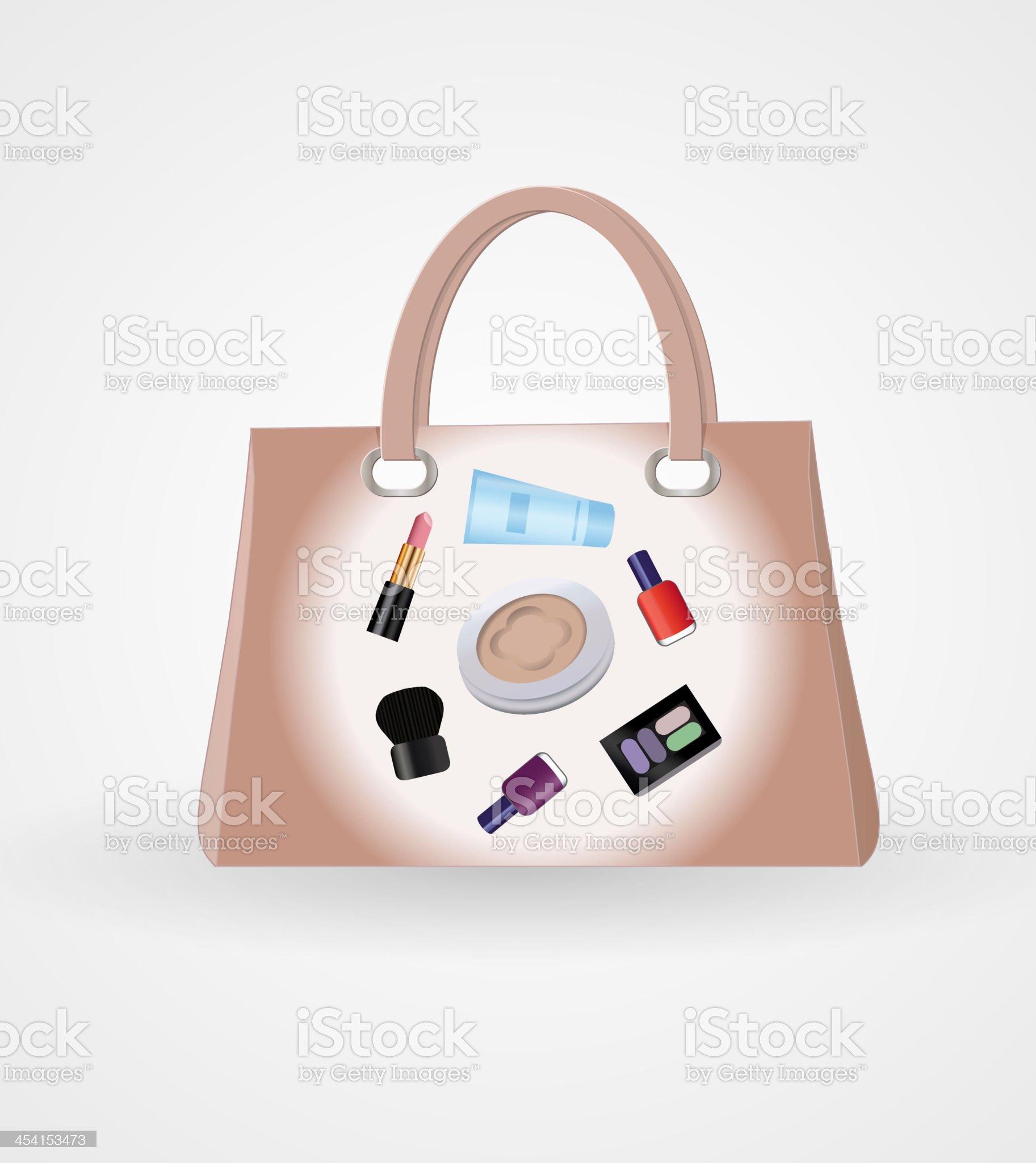 Handbag with cosmetics royalty-free stock vector art