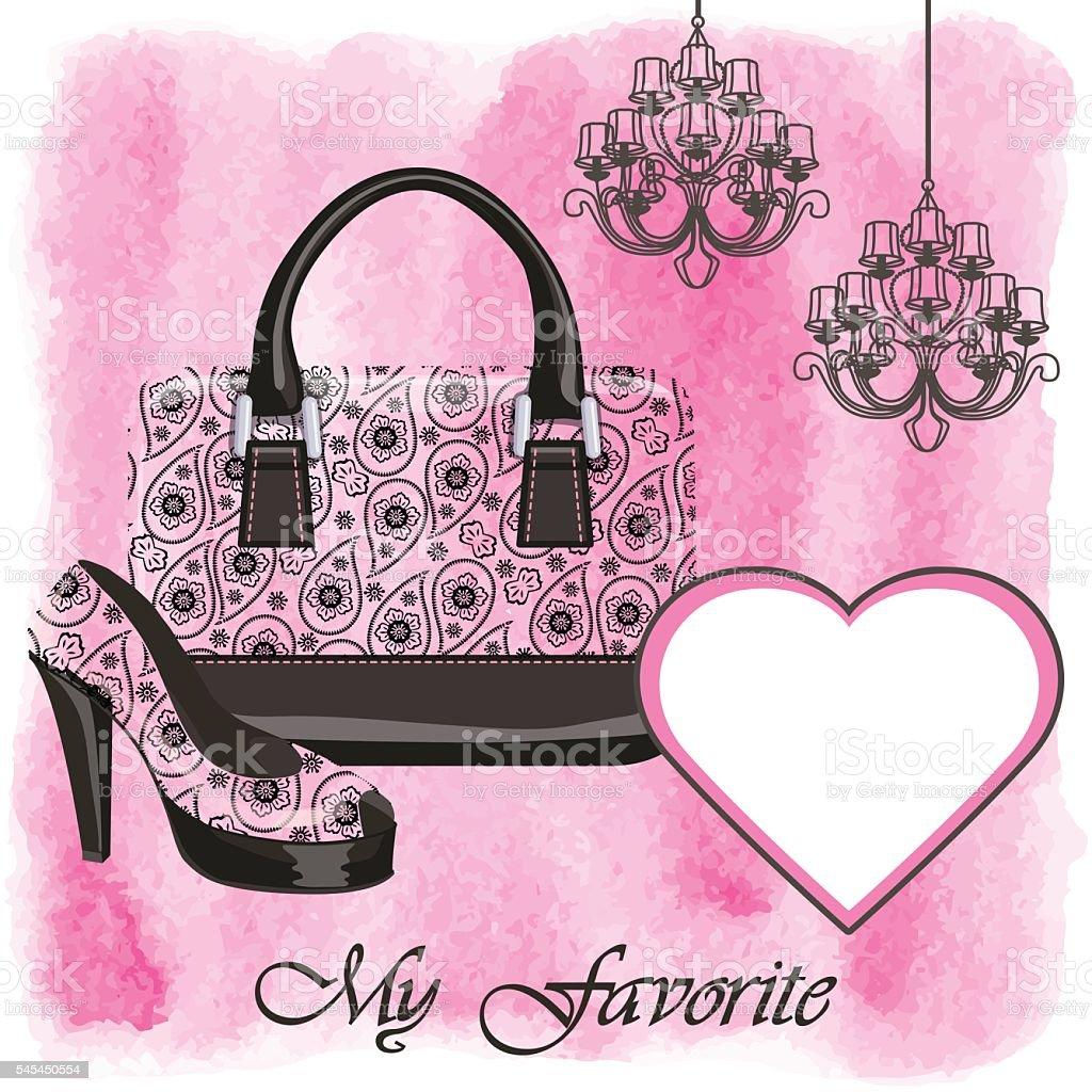 Handbag,shoe,watercolor splash,chandelier.Paisley pattrn vector art illustration