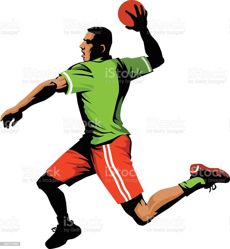 Handball Player Jumping to Shoot For Goal - Isolated vector art illustration