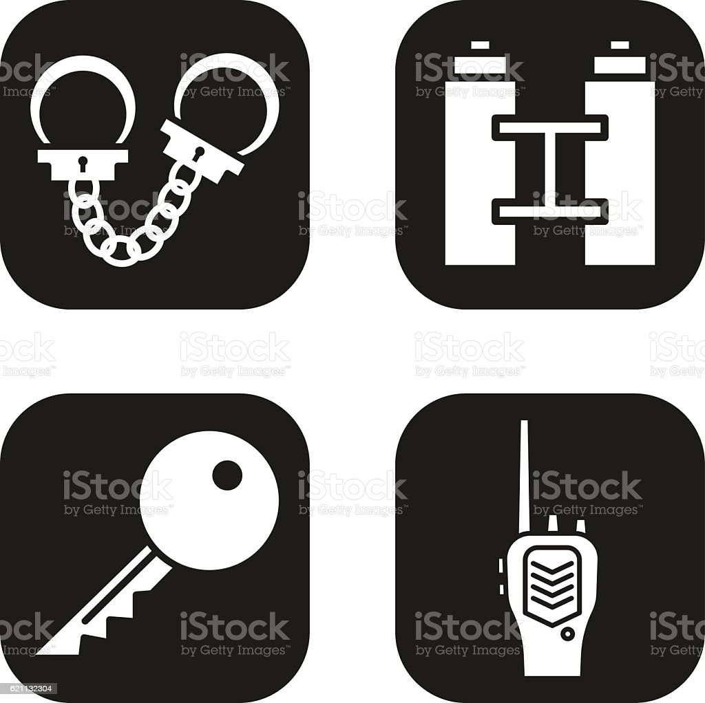 Handcuff, key, radio, binoculars in black squares. vector art illustration