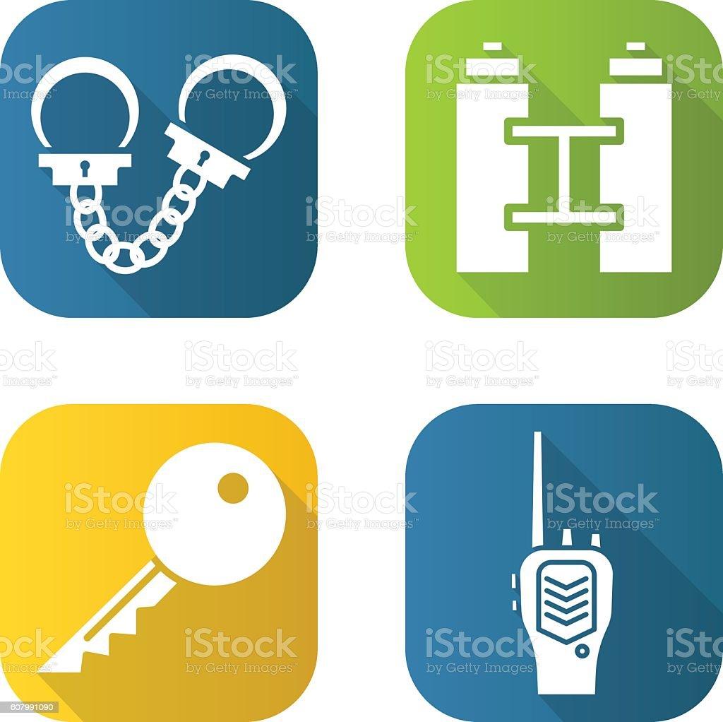 Handcuffs, binoculars, key and radio. vector art illustration